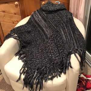 Sweaters - Black and white crocheted poncho